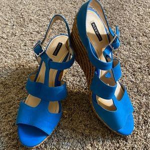 Alex Marie Blue Wedge Sandal heels Size 10M EUC!